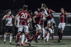 Quarts de finale de tasse de roche du Gibraltar - le football - Manchester 62 0 Photo libre de droits