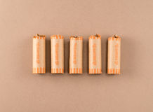 Quarts en emballages de pièce de monnaie Photo stock