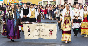 QUARTU S Ε , ΙΤΑΛΙΑ - 14 Ιουλίου 2012: Διεθνές φεστιβάλ λαογραφίας - 26 ^ Sciampitta - Σαρδηνία Στοκ Εικόνες