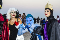 QUARTU S e , ITALIË - Augustus 2, 2015: De Partij van strandcosplay - kostuumparade in Marlin Club van Poetto-Strand wordt gehoud Royalty-vrije Stock Foto