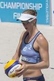 QUARTU S e , ITALIË - Juni 2014, 7: Europees Strandvolleyball 2014 - de toernooien van vrouwen - Poetto-strand - Sardinige Royalty-vrije Stock Foto's