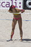 QUARTU S.E. , ITALY - June 2014, 7: European Beach Volleyball 2014 - women's tournament - Poetto beach - Sardinia Royalty Free Stock Photography