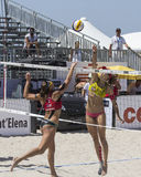 QUARTU S.E. , ITALY - June 7, 2014: European Beach Volleyball 2014 - women's tournament - Poetto beach - Sardinia Royalty Free Stock Photo