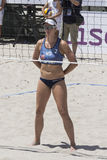 QUARTU S.E. , ITALY - June 7, 2014: European Beach Volleyball 2014 - women`s tournament - Poetto beach - Sardinia Royalty Free Stock Image