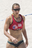 QUARTU S.E. , ITALY - June 7, 2014: European Beach Volleyball 2014 - women's tournament - Poetto beach - Sardinia Stock Images