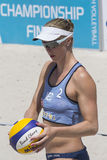 QUARTU S.E. , ITALY - June 2014, 7: European Beach Volleyball 2014 - women's tournament - Poetto beach - Sardinia Royalty Free Stock Photos