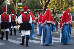 QUARTU S.E., ITALY - SEPTEMBER 15: Parade of the Wine Festival 2012 - Folk group Cagliari - Villanova Royalty Free Stock Image
