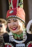QUARTU S e , WŁOCHY, Lipiec - 15, 2016: 30 Sciampitta ^ Ludowy zespół Kytalyk Maia Yakutia - R - Międzynarodowy festiwal folklor  Zdjęcia Royalty Free