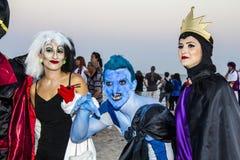 QUARTU S e , WŁOCHY, Sierpień - 2, 2015: Plażowy Cosplay przyjęcie Sardinia - kostiumowa parada trzymająca przy Marlin klubem Poe Zdjęcie Royalty Free