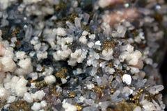 Quartz. Pyrite, calcite and quartz mineral natural Royalty Free Stock Photos
