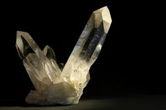 Quartz. Crystal over black background Stock Photography