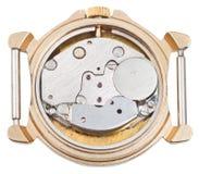 Quartz clock mechanism in old golden watch Royalty Free Stock Photos