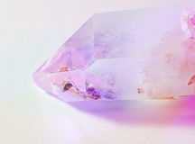Quartz crystal illuminated by color Royalty Free Stock Photography