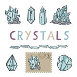 Quartz Crystal Magic Hand Drawn Vector Icon Illustration Set royalty free illustration