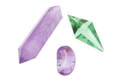 Quartz Crystals. On White Background Stock Photos