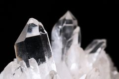Quartz crystals. On black background Royalty Free Stock Photo