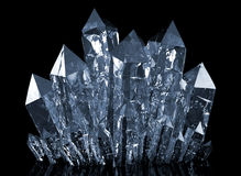 Quartz crystals growing. Beauty blue quartz crystals growing Royalty Free Stock Images