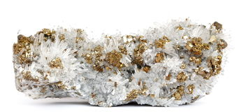 Quartz crystals with Pyrite. Golden Pyrite crystals on a cluster of transparant Quartz crystals Stock Photos