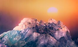 Free Quartz Geode Crystals With Sunset Royalty Free Stock Photo - 178315595
