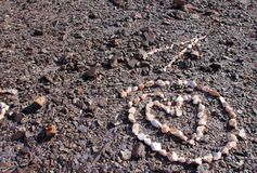 Quartz Heart in circle on mountainside north of Yuma, Arizona royalty free stock photography
