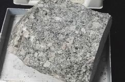 Quartz monzonite porphyry intrusive igneous rocks. Intrusive igneous rocks. Geological collection in Colombia for geologists. Study of soils, minerals and rocks Stock Images