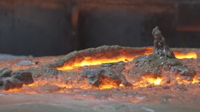 Quartz ore smelting stock footage