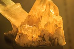Quartz prismatic habit stone specimen from mining and quarrying. Industries. Quartz is a mineral composed of silicon and oxygen atoms that commonly used in the Royalty Free Stock Image