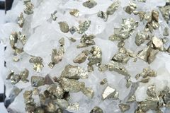Quartz with pyrite Royalty Free Stock Photo