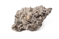 Quartz with pyrite. Gray mat quartz with pyrite isolated on white backgroung Stock Images