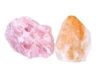 Quartz rose and citrine stones. Separated on white background royalty free stock photo