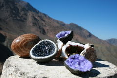 Quartz stones, amethyst in Morocco Stock Photos