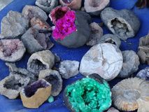 Quartz stones, amethyst in Morocco. Quartz stones,natural beauty, amethyst in the mountains of Atlas, Morocco. Sold as a souvenirs fot tourists Royalty Free Stock Images