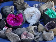 Quartz stones, amethyst in Morocco. Quartz stones,natural beauty, amethyst in the mountains of Atlas, Morocco. Sold as a souvenirs fot tourists Royalty Free Stock Image