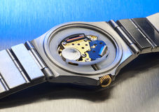 Quartz watch interior Royalty Free Stock Image