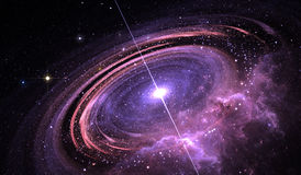 Quasar otaczający na orbicie zrośnięcie dyskiem gaz, Supermassive gwiazda z promieniowaniami rentgenowskimi i elektromagnetyczny  Zdjęcia Stock
