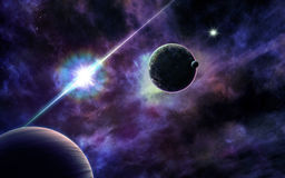 Quasar and planets nearby Royalty Free Stock Photography