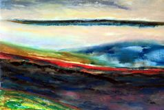Quasi Abstract Landscape Painting. An ethereal, quasi abstract, background, landscape, painting with hills and clouds royalty free stock photography