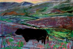 Quasi Abstract Landscape Painting with Cow. A quasi abstract landscape painting with cow stock image