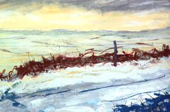 Quasi Abstract Landscape Painting with Snow. A quasi abstract landscape painting of a snowy vista with fence royalty free stock photos