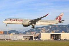Quatar A350 chez Genf Images libres de droits