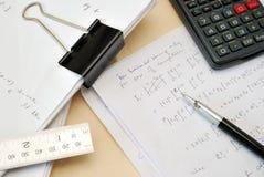 Équations de maths Images stock