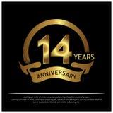 Quatorze anos de aniversário dourado projeto do molde do aniversário para a Web, jogo, cartaz criativo, brochura, folheto, inseto ilustração royalty free