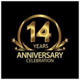 Quatorze anos de aniversário dourado projeto do molde do aniversário para a Web, jogo, cartaz criativo, brochura, folheto, inseto ilustração do vetor