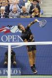 Quatorze campeões Rafael Nadal do grand slam das épocas da Espanha na ação durante seu fósforo de abertura no US Open 2015 Fotografia de Stock Royalty Free