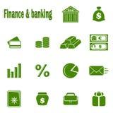 Quatorze finances monochromes et opérations bancaires d'icônes Photographie stock