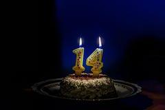 Quatorze gâteaux d'anniversaire avec des bougies de nombre Images libres de droits
