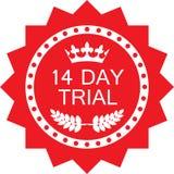 Quatorze icônes rouges de luxe d'essai d'insigne de jour illustration stock
