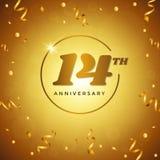 Quatorzième anniversaire avec la carte de voeux de confettis d'or Images libres de droits