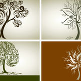 Quatre échantillons de vecteur de conception avec l'arbre décoratif Photo stock