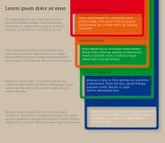 Quatre éléments consécutifs de cadre avec un bon nombre de pièce pour le texte et les descriptions Images libres de droits